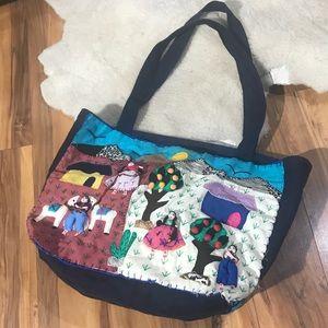 Handbags - Vintage Hand Crafted Canvas 3D Peruvian Tote Purse